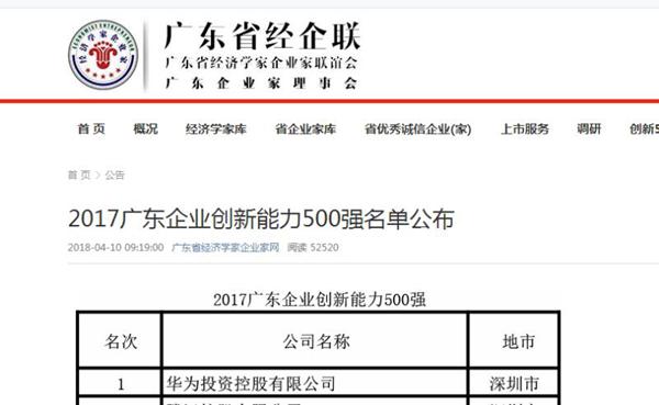 三雅被评定为2017广东创新能力500强企业