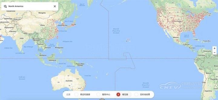 扩张版图 特斯拉更新超级充电站地图
