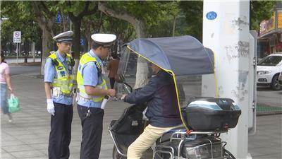 严查!湖南常德两月查处摩托车电动车违法3000起,收缴遮阳伞(棚)2600多把!
