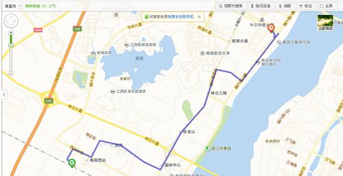 从南昌西站到南昌国际展览中心交通示意图